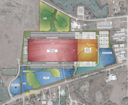 The second phase (orange) of Drag Strip Logistics Center in Lakeland would expand the warehouse to just over 1 million square feet.