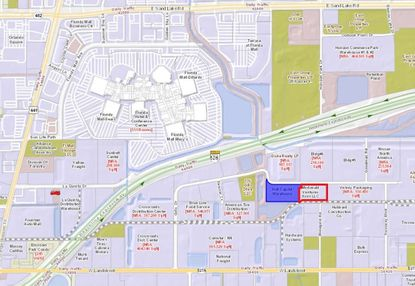 Outlined in red is the new warehouse at 550 Gills Dr. in south Orlando purchased this week by First Industrial Realty Trust, next to the warehouse it bought in June (blue).
