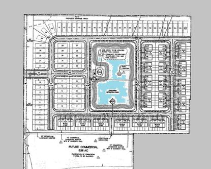 This site plan that developer Dwight Saathoff submitted to the city of Sanford shows commercial development along State Road 46 (bottom) surrounded in the north, east and west with residential units.