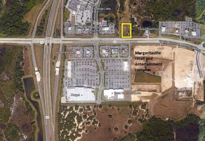 Outlined in yellow is an approximation of the 2.3-acre parcel proposed for dining and retail development on Kissimmee's W192, north of the entry to Margaritaville Resort's retail and entertainment complex.