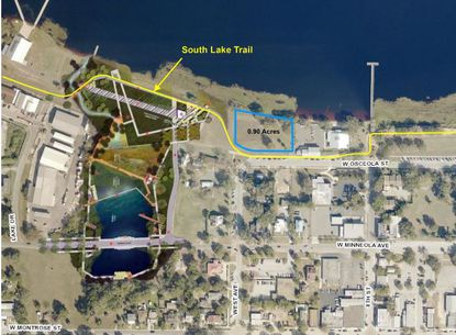 Highlighted in blue is the 0.9-acre property up for sale by the City of Clermont.