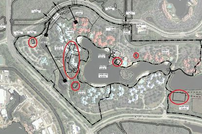 Circled in red on this map shows six of the seven new building structures that were indicated for Disney's Caribbean Resort, as part of recent SFWMD permit filings.