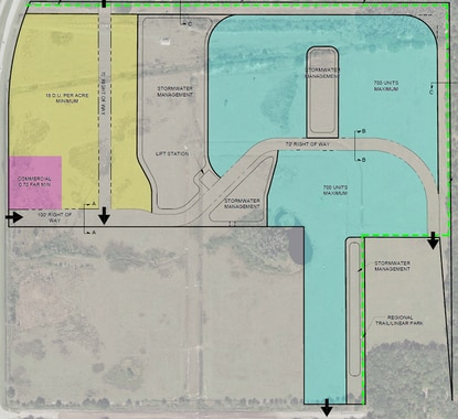 This concept plan for the former Solstice property shows the future land uses for the land. The section in blue is vested for up to 700 residential units. The section in yellow would be developed under Employment Center standards, with a minimum density of 18 units per acre. The pink section is approved for for 20,000 square feet of commercial uses.