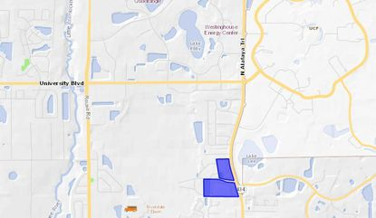 Highlighted in blue is The Edge student housing apartments property on N. Alafaya Trail, just south of the UCF campus.