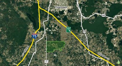Highlighted in green is the 8,354-acre J.K. Stuart Ranch property in Sumter County, south of The Villages, that's a target for prospective residential development and limestone mining.
