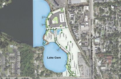 A conceptual aerial site plan of the proposed 18-acre Gem Lake Water District in Maitland, which would be entitled for 431 apartments and nearly 200,000 square feet of commercial and public uses.