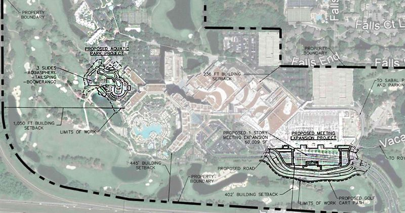 A conceptual site plan of the 60,000-square-feet of new meeting space and new aquatic park at Marriott Orlando World Center.