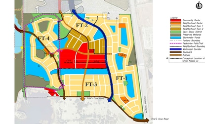 The Fontana Lakes conceptual plan shows the 677-acre project divided into four phases. A marina is shown in red in the southwest corner of the property. The future mulitmodal corridor is shown in blue.