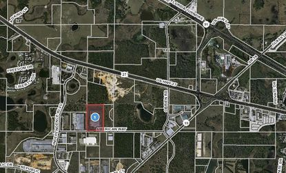 Highlighted in red is the Metals USA warehouse location on American Way in Groveland, part of the Christopher C. Ford Commerce Park.