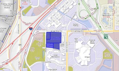 Highlighted in blue are the 16.5 acres owned by an affiliate of Douglas Partners of Winter Park. The land lies directly south of International Premium Outlets, and will benefit from a future I-4 flyover bridge connecting Oak Ridge Road to traffic directly from Universal Orlando.