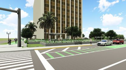 Street-level view from Rosalind Avenue looking east at the Eola Park Centre building, this rendering shows a conceptual new landscape and hardscape beautification plan for the property's front courtyard.