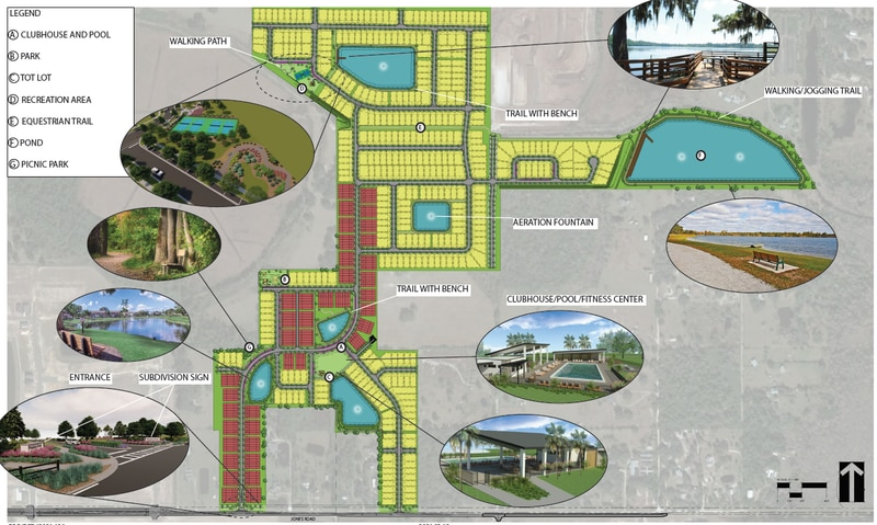 The Preston Cove master plan calls for 226 townhouse lots (brown) and 385 detached homesites on Jones Road, along with a pool and multiple parks and recreation areas.