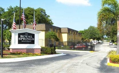 Entry to the recently acquired and rebranded Royal Springs Apartments at 1717 Holden Ave., Orlando.