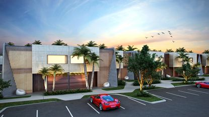 Magic Village by Pininfarina has 453 luxury condo townhomes designed by the famed Italian design house. The floor to ceiling windows are shaded by an exterior aluminum panel with vertical slats. Wood-look siding clads the front of each unit and is topped by planters.