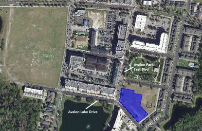 Highlighted in blue is the 1.35-acre parcel proposed for a new office building, at the corner of Avalon Lake Drive and Avalon Park East Boulevard.