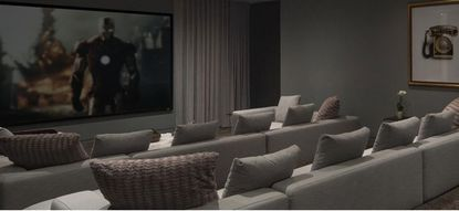 Marketing image of a home theater room and entertainment system installed by Orlando's Satellite City, Inc.