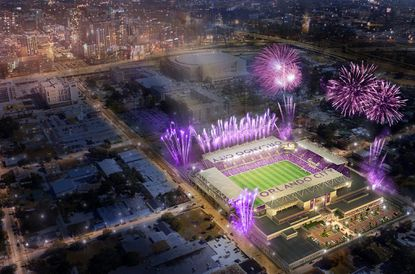 New artist's renderings released on July 31 for Orlando City Soccer's expanded stadium plans on W. Church Street.