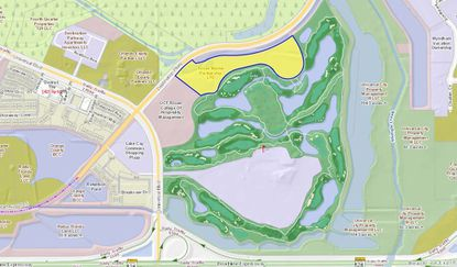 Highlighted in yellow, the 24.6-acre undeveloped parcel lies directly north of the Rosen Shingle Creek Resort's golf course, with frontage on Destination Parkway.
