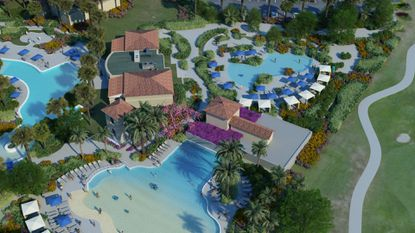 This rendering shows the new wave pool and kiddie pool that will bring the total number of pools at the hotel to five. The Omni is also adding 16 cabanas, bringing the total number to 24.