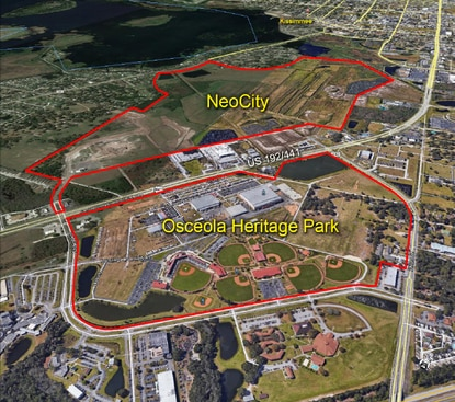 Three of the hotel sites would be located within Osceola Heritage Park. The fourth site would be across the street, in NeoCity.