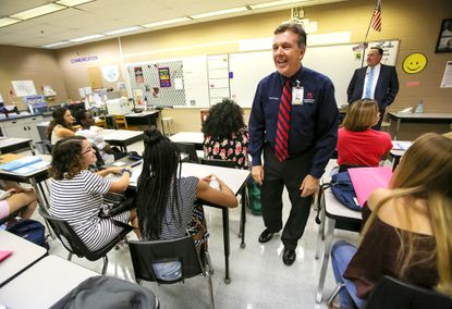 Dr. Walt Griffin, Superintendent of Seminole County Schools, visits students in an Introduction to Healthcare class at Seminole High School on the first day of school in August 2017.