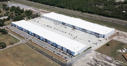 Aerial photo from mid-March showing construction progress of the first two industrial buildings at The Park @ 429 in Ocoee, which lies along S.R. 429.