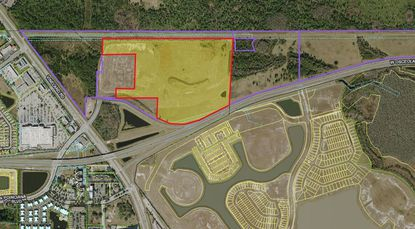 Northeast of the intersection of W. Osceola Parkway and SR 535, the parcels outlined in purple have been assembled by Intram Investments, and the parcel highlighted in yellow could be the focal point for Xero Gravity Resort's developers.