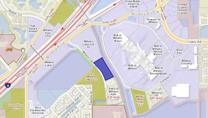 Highlighted in blue is the four-acre parcel on Millenia Lakes Boulevard to be developed by Island Hospitality Partners into a dual-brand Marriott hotel.
