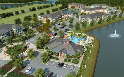 An overview artist's rendering of the M North apartment development, near Mall at Millennia.