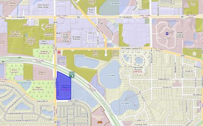 Highlighted in blue is Skorman's 14-acre parcel on Maguire Road, south of the Florida Turnpike, that includes its Park Place apartments and the future 18,000-square-foot retail center. Ocoee's Health Central Hospital can be seen in the northeast corner of the map.