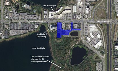 Highlighted in blue is a 4.68-acre parcel recently acquired on W. Sand Lake Road, near the Palm Parkway intersection.