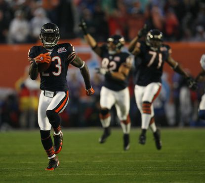 Devin Hester runs back the first ever opening super bowl kickoff for a touchdown. Super Bowl XLI in Miami, held on Feb. 4, 2007.