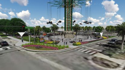An artist's rendering of the ground-level view of the Starflyer attraction planned for Kings Plaza, near the intersection of International Drive and Jamaican Court.