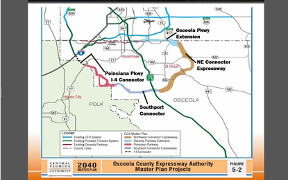The new Osceola toll roads would form a 60-mile souther beltway loop interconnected with the CFX system and the FL Turnpike.