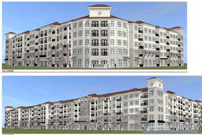 A partial view of a rendering of the five-story apartment community planned by Bainbridge Companies at Ravaudage in Winter Park.