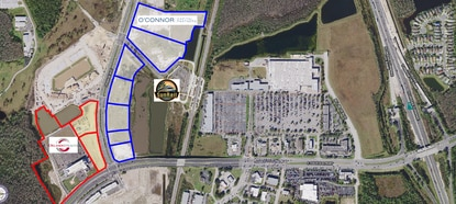 Orlando Health has expanded its Tupperware land holdings to 20.6 acres. O'Connor Capital is under contract for 37 acres, outlined in blue, adjacent to the SunRail station.