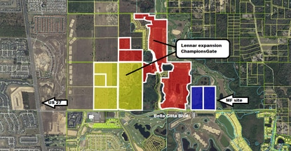 Miami-based Pinnacle Housing Group is under contract for 39 acres (blue) on Bella Citta Boulevard adjacent to the ChampionsGate Country Club golf course. Lennar is planning a 1,400-home expansion of ChampionsGate nearby.