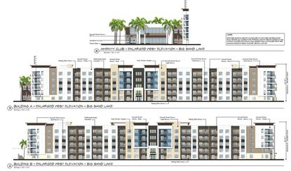 Elevations of the proposed five-story multifamily development by Jefferson Apartment Group to face Big Sand Lake, on property along Turkey Lake Road.