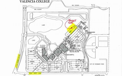This map of the Valencia College Osceola campus shows the new building project site highlighted in yellow.