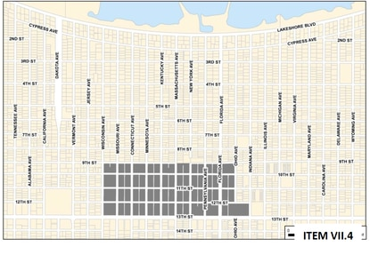 The St. Cloud City Council has approved an ordinance establishing a downtown historic district comprising the 36 city blocks shaded in gray.