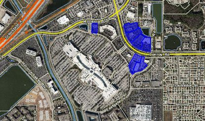Highlighted in blue are the seven out-parcels purchased by Limestone Asset Management.