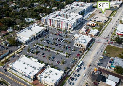 This marketing aerial shows a partial view of the Mills Park retail center and apartment complex, located at the corner of Mills Avenue and Virginia Drive. The 2.55-acre undeveloped portion on its northwest is for sale.