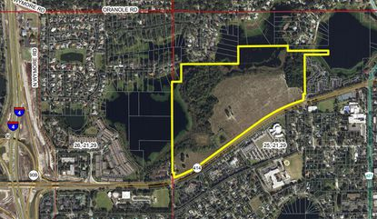 Outlined in yellow is the entirety of the Maitland Concourse North-zoned property, along Maitland Boulevard.