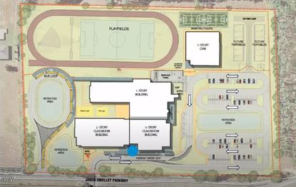 A conceptual site plan for a proposed K-8 school in Apopka.