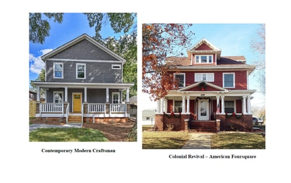Pictured are examples of Modern Craftsman and Colonial Revival archicture. These are two of the nine styles deemed acceptible for new home construction in Mount Dora, according to a ordinance approved on Tuesday.