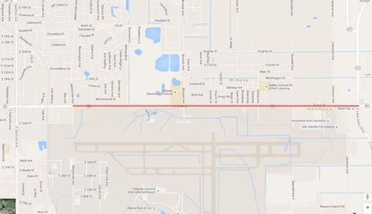 Highlighted in red is the stretch of S.R. 46 between Mellonville Avenue and S.R. 415, which will be the focus of the water utility project for Sanford, located directly north of the Orlando Sanford International Airport.