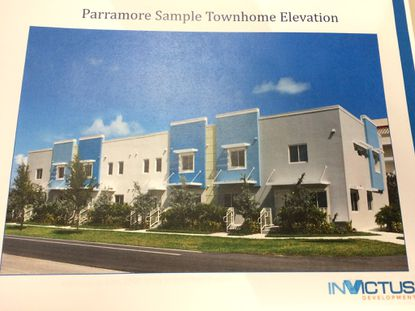 A sample townhome elevation in InVictus Development's proposal to the city, from December 2015.
