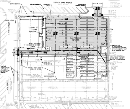 This site plan shows Shaw Construction & Management Services' latest project for two office buildings in downtown Lake Mary. The first building, to be constructed starting in November, is shown in the upper left corner.