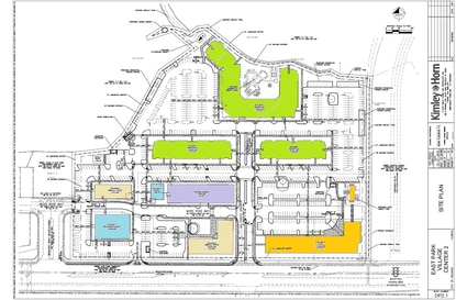 The proposed site plan shows a variety of uses for the 22-acre East Park village center, including multifamily (lime green), medical office (yellow), hotel (orange) and retail (blue.) The retail and offices would be served by a 2-story parking garage, shown in purple.