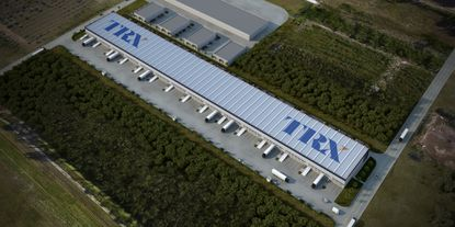A rendering showing an aerial view of a TRX industrial warehouse facility now in development in Doral.